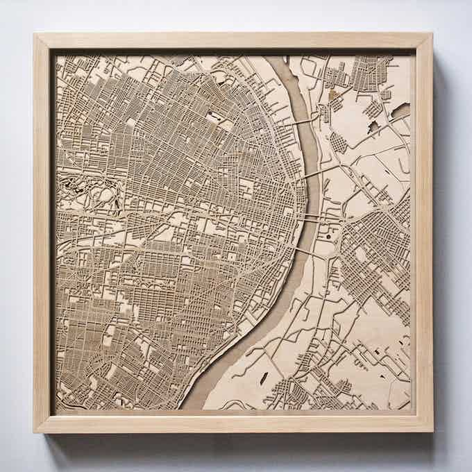 St Louis CityWood Laser Cut Wooden Map