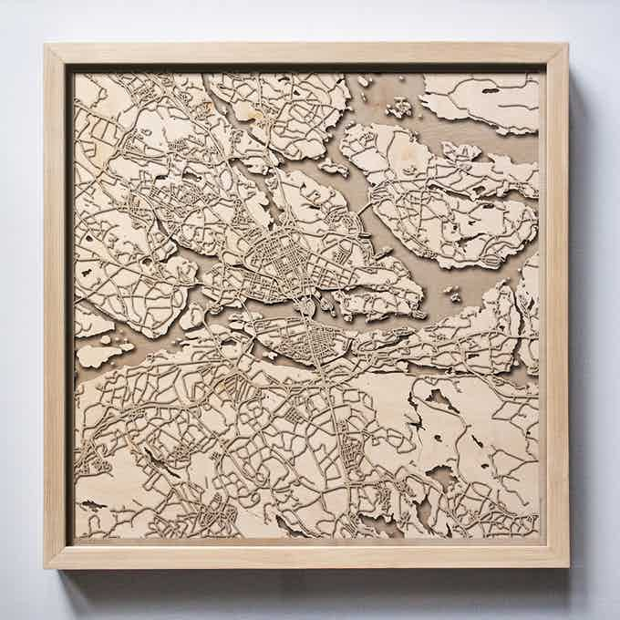 Stockholm CityWood Laser Cut Wooden Map