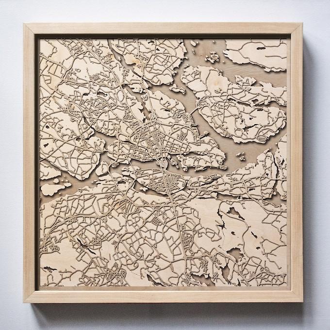 Stockholm CityWood Laser Cut Wooden Map