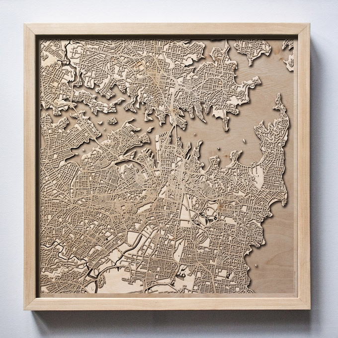 Sydney CityWood Laser Cut Wooden Map