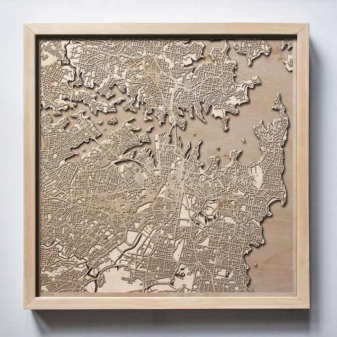 Sydney CityWood Laser Cut Wooden Map