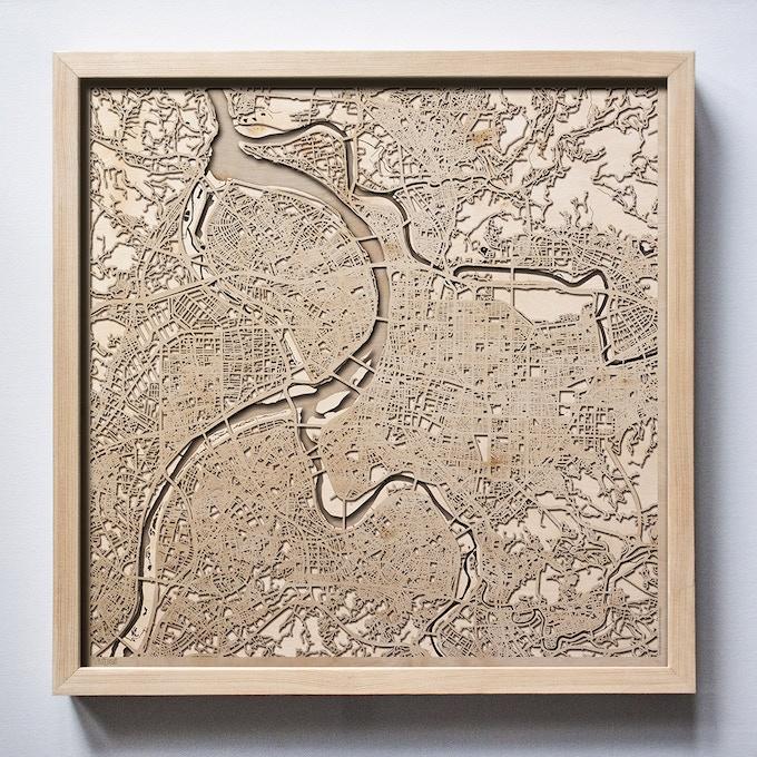 Taipei CityWood Laser Cut Wooden Map