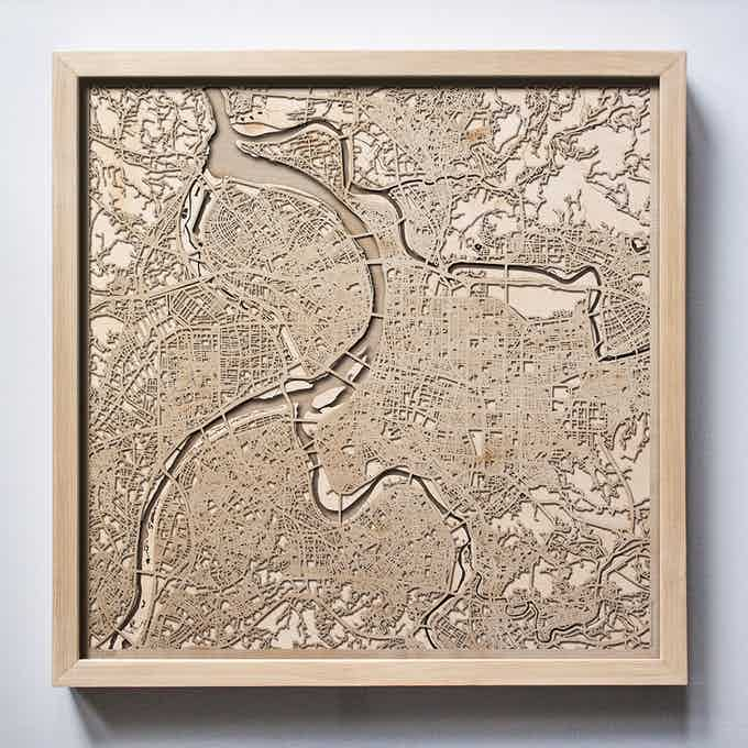 Taipei CityWood Laser Cut Wooden Map