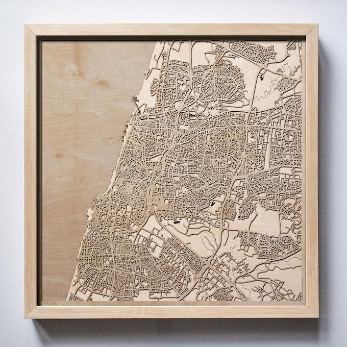 Tel Aviv CityWood Laser Cut Wooden Map