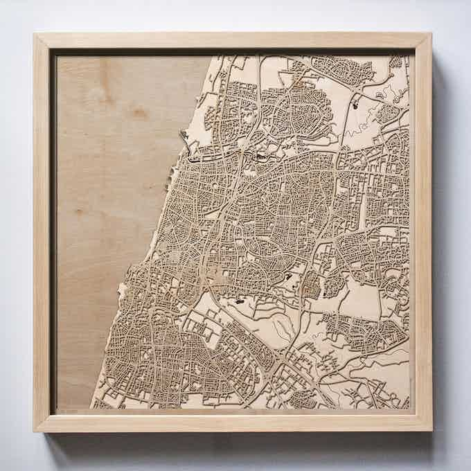 Tel Aviv CityWood Laser Cut Wooden Map