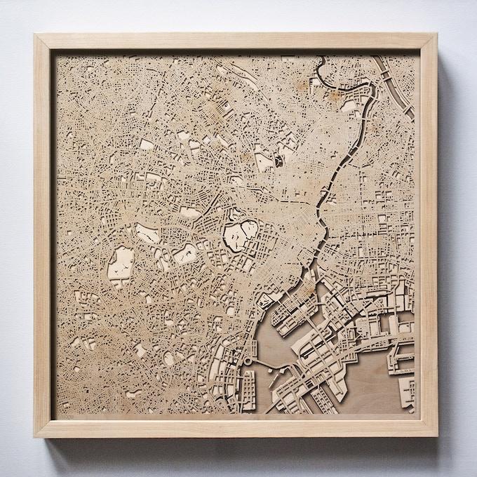 Tokyo CityWood Laser Cut Wooden Map