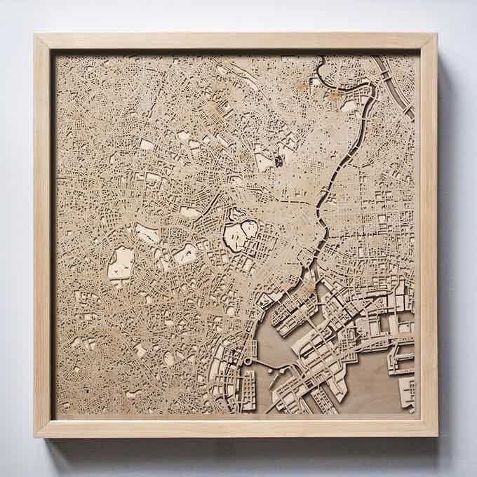 Tokyo CityWood Laser Cut Wooden Map