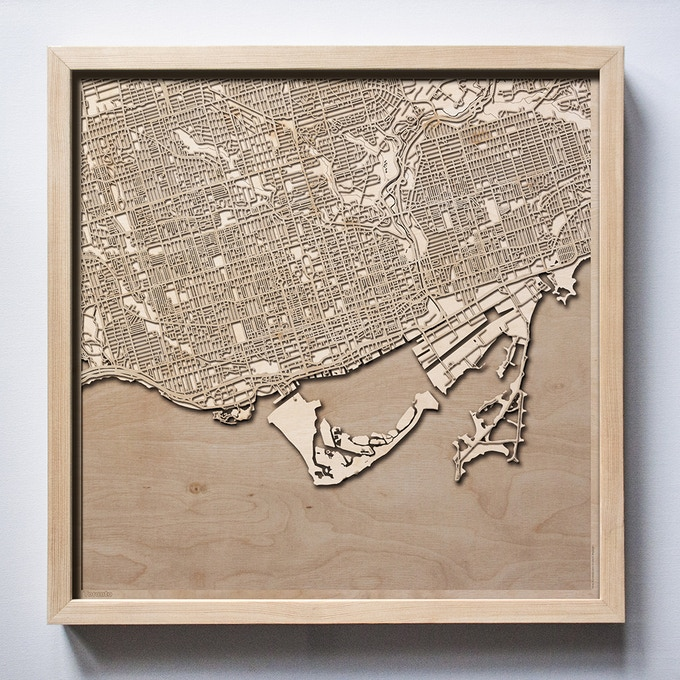 Toronto CityWood Laser Cut Wooden Map