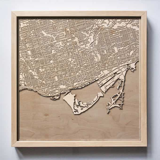 Toronto CityWood Laser Cut Wooden Map