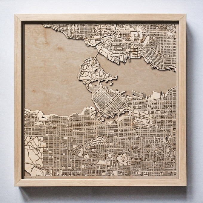 Vancouver CityWood Laser Cut Wooden Map
