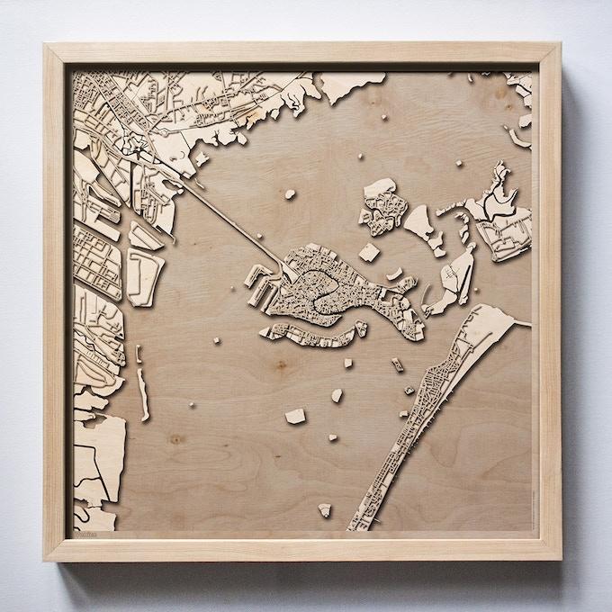 Venice CityWood Laser Cut Wooden Map
