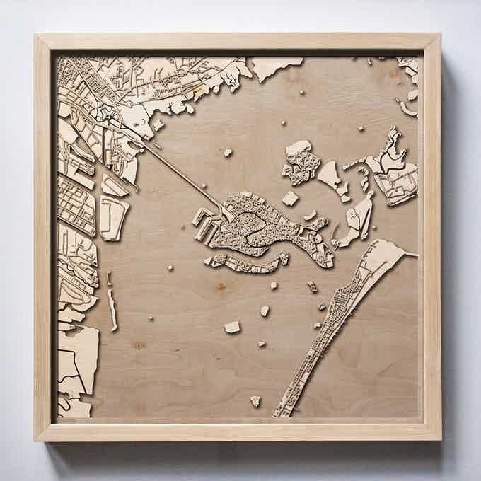 Venice CityWood Laser Cut Wooden Map