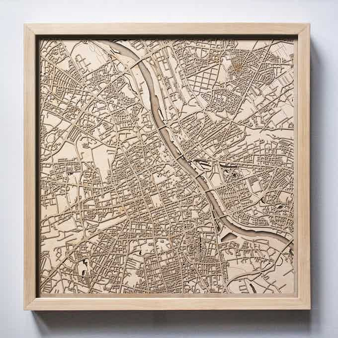 Warsaw CityWood Laser Cut Wooden Map