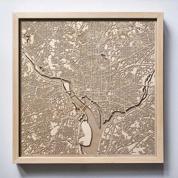 Washington CityWood Laser Cut Wooden Map