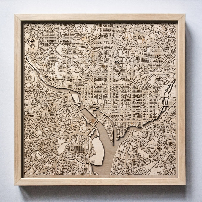 Washington CityWood Laser Cut Wooden Map