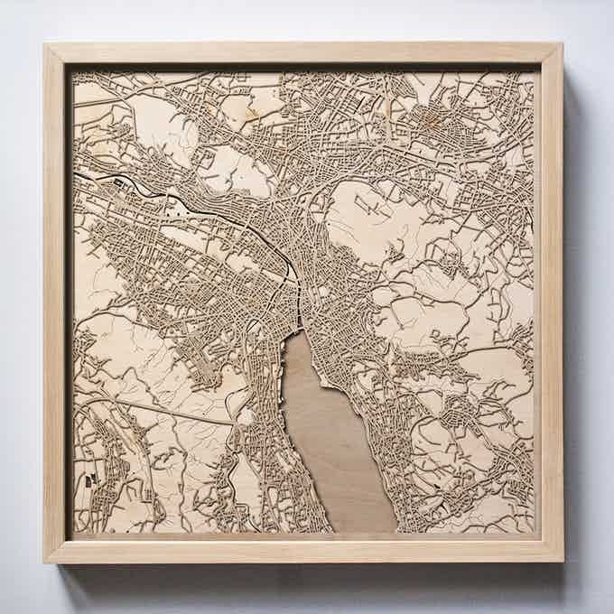 Zurich CityWood Laser Cut Wooden Map