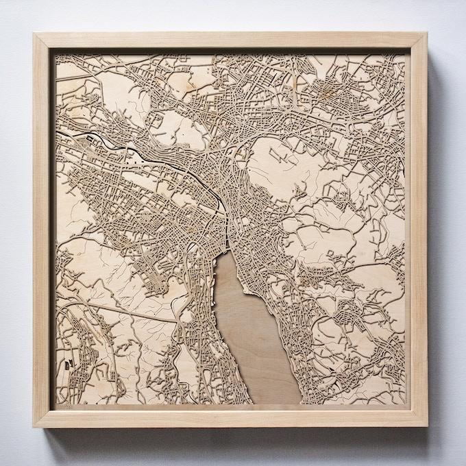 Zurich CityWood Laser Cut Wooden Map
