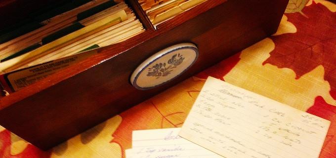 Grandma Toby's Recipe Box, complete with hand written recipe cards.
