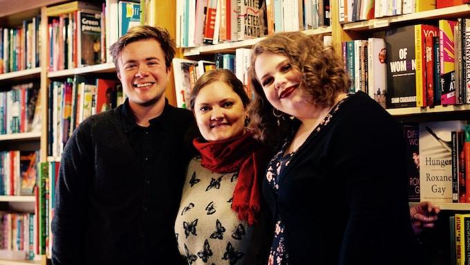 Left to Right: Nathaniel, Rhiannon and Lenka at the Lighthouse Bookshop (Edinburgh)