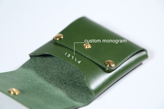 We can personalize your own wallet with a custom monogram up to 5 letters. Our logo does not appear on the wallet. It is yours!