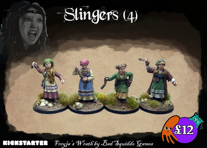 Four different single piece figures cast in pewter. These are less trained than the professional shieldmaidens, but still pack a deadly whack!