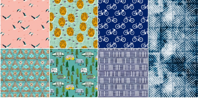 Fabric Choices! top L-R- flamingo, tiger, bike, indigo/eye, camper and denim