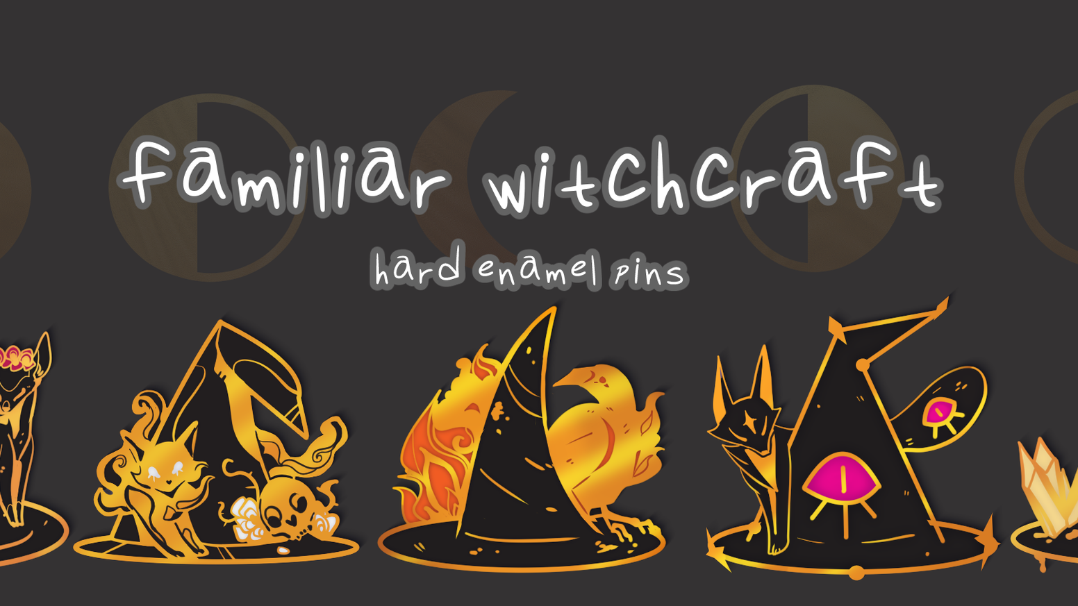 Familiar Witchcraft is a set of gold hard enamel pins made up of witchy hats and familiars. Share your love of magic with this set!