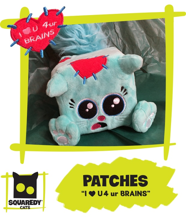 This is Patches, the adorable new zombie Squaredy Cat who wants to love you for your brains.