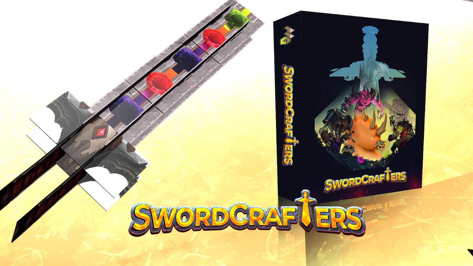 A tile selection and placement board game where each player builds a 3D tableau in the shape of a sword.