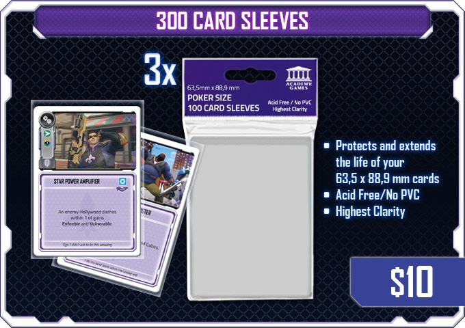 Very clear and tight fitting card sleeves. Your sleeved Gadget cards will fit into your Character Boards.