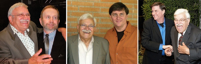 L: Sammy with Johnny Mandel; C and R: with Gordon Goodwin, leader of the Big Phat Band