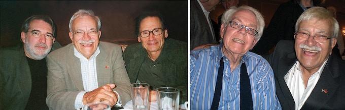 L: Sammy with Tommy Vicari and Bernie Grundman; R: with Stan Freberg