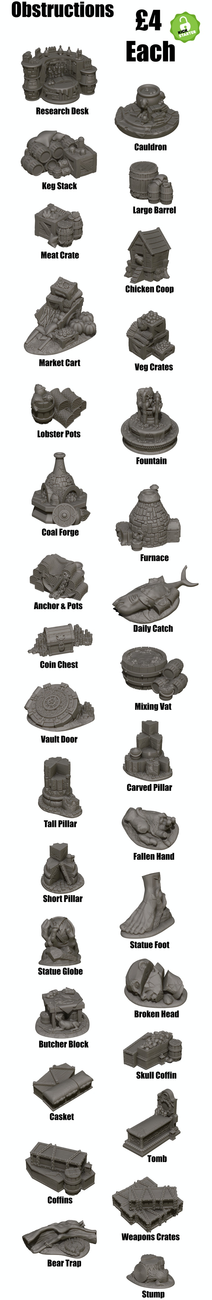 Obstruction terrain pieces for in game play