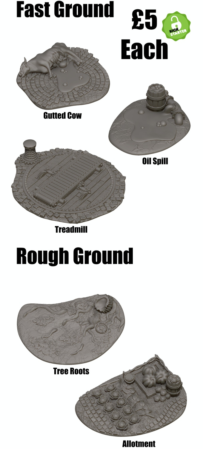 Fast and Rough Ground terrain pieces for in game play
