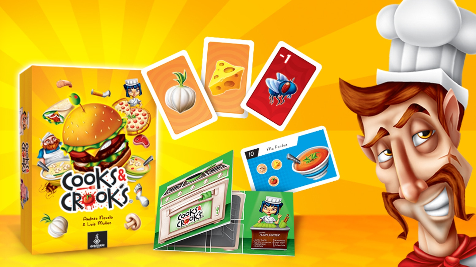 Put the proverbial fly in other player's soup! Discover who is the most crooked cook in this family game.
