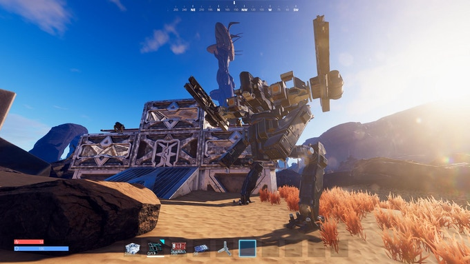 T2 Mech infront of a small desert base