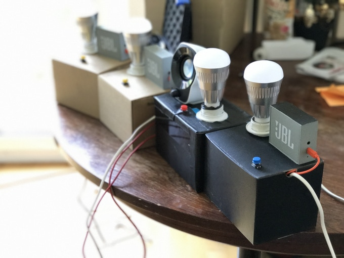 Proof of Concept: A light bulb and a connected speaker to test the concept in people's homes.