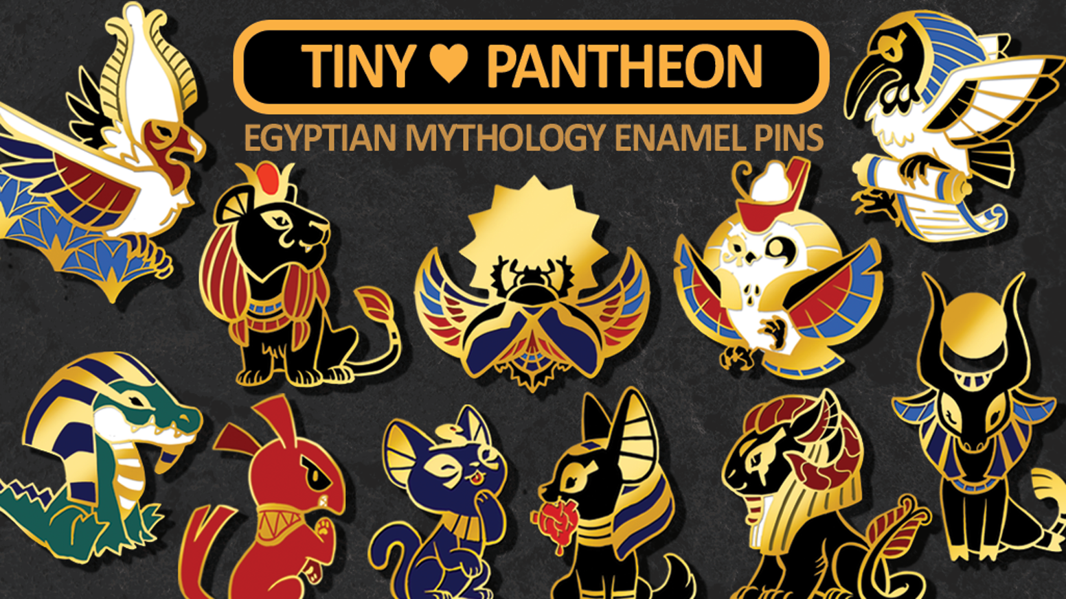Egyptian deities and mythological creatures as adorable enamel pins.