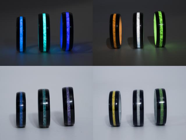 L>R    Blue, Teal, Violet, Orange, White, Green