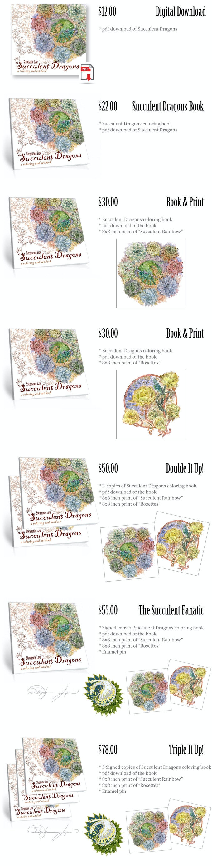 Succulent Dragons A Coloring And Art Book By Stephanie Law