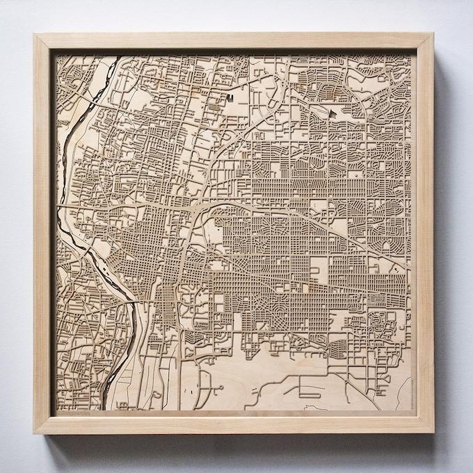 Albuquerque CityWood Laser Cut Wooden Map