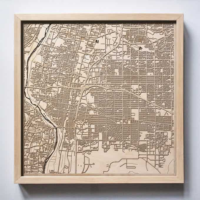 Albuquerque CityWood Laser Cut Wooden Map