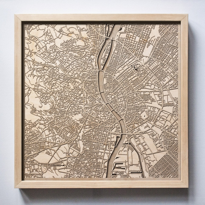Budapest CityWood Laser Cut Wooden Map