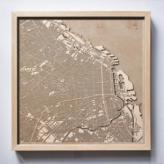 Buenos Aires CityWood Laser Cut Wooden Map