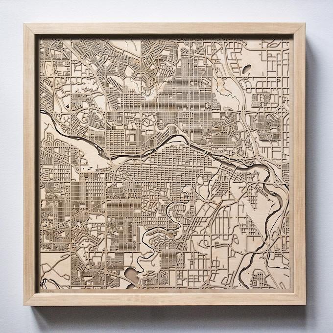 Calgary CityWood Laser Cut Wooden Map