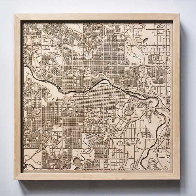 Calgary CityWood Laser Cut Wooden Map
