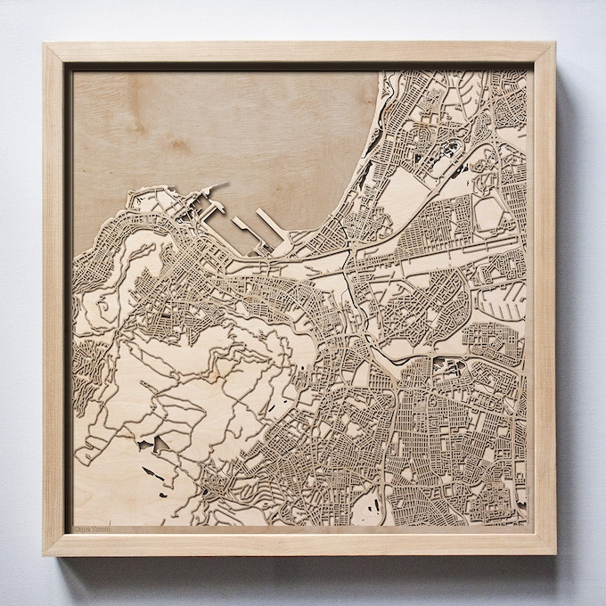 Cape Town CityWood Laser Cut Wooden Map