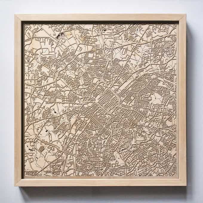 Charlotte CityWood Laser Cut Wooden Map
