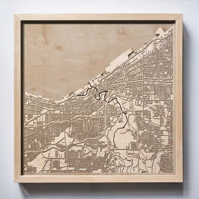 Cleveland CityWood Laser Cut Wooden Map