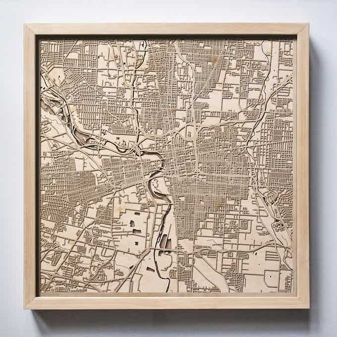 Columbus CityWood Laser Cut Wooden Map